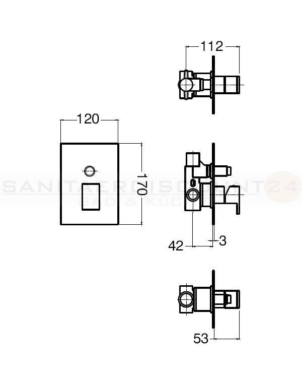 design quadro unterputz wannen brause einhebelmischer mit umsteller inkl unterputzelement. Black Bedroom Furniture Sets. Home Design Ideas