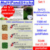 Aktionsset 1: 3x12 L MultiPondSticks + 1500 ml original Gammarus + 3000 ml goldFlakes