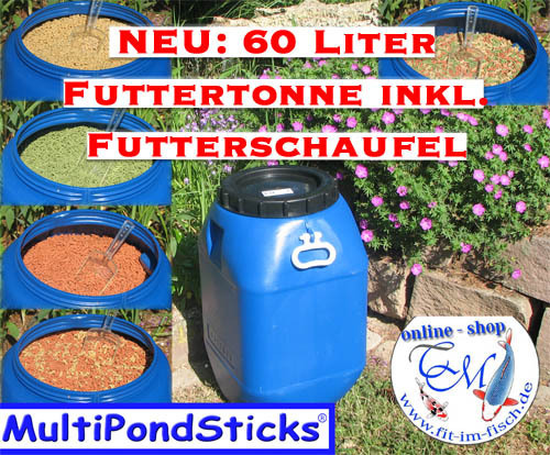MultiPondSticks Futtertonne XL - 60 Liter + GREEN Sticks