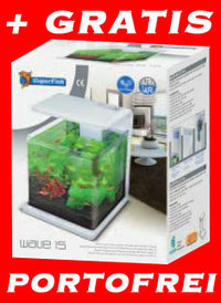 NEU Wave 15 Design Aquariumset Weiss + LED