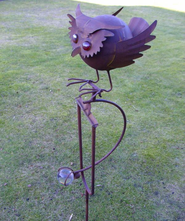 garten balance pendelfigur eule 1,40m hoch gartendeko metall glas, Garten Ideen