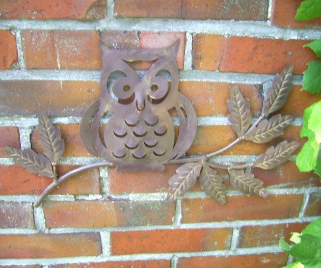wanddeko eule metall 43cm breit wanddekoration antik landhausstil, Garten Ideen