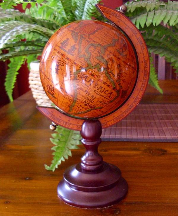 globus antik nostalgie kolonialstil weltkugel wohndeko 22cm hoch neu ebay. Black Bedroom Furniture Sets. Home Design Ideas