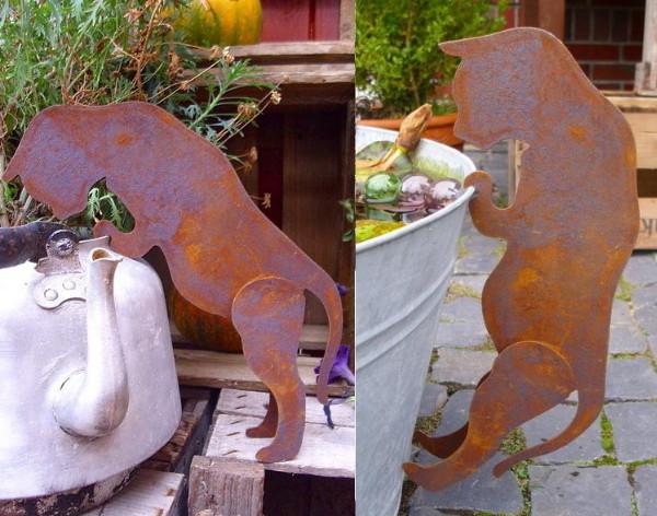 Blumentopf deko figur neugierige katze metall rost patina for Gartenaccessoires aus rost