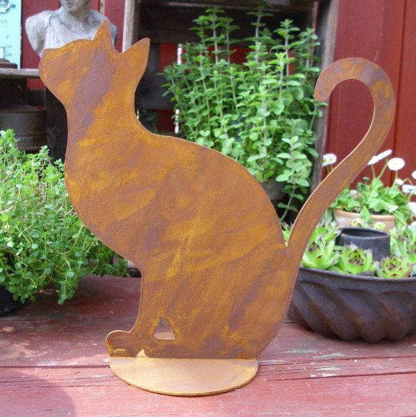 Deko figur sitzende katze metall 2 st ck ergeben herz rost for Gartenaccessoires rost