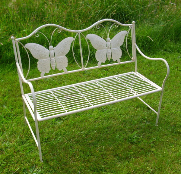 mini gartenbank butterfly antik nostalgie landhausstil gartenm bel eisen neu 9e ebay. Black Bedroom Furniture Sets. Home Design Ideas