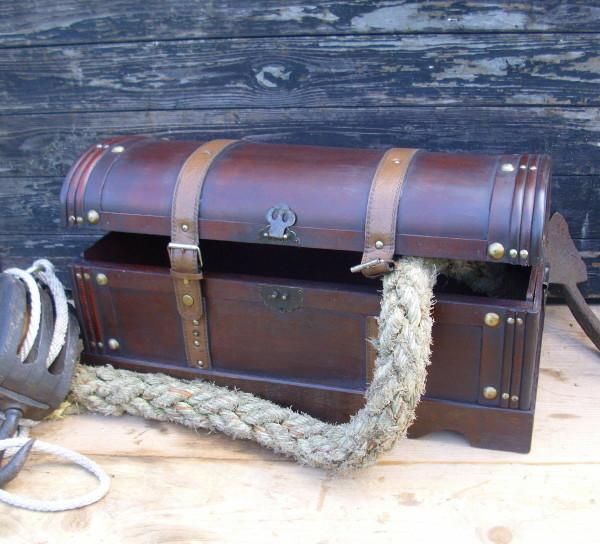 truhe schatzkiste holz koffer 60cm br antik nostalgie. Black Bedroom Furniture Sets. Home Design Ideas