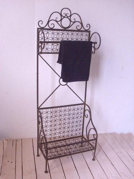 Bad stand handtuchhalter antik landhausstil mit ablage handtuchst nder metall ebay - Handtuchhalter landhausstil ...