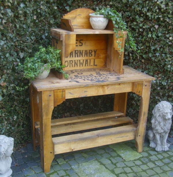 pflanztisch gartentisch antik landhausstil kisten design holz tisch garten neu ebay. Black Bedroom Furniture Sets. Home Design Ideas