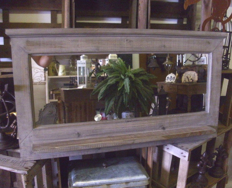 large wall mirror with shelf country style wood shabby. Black Bedroom Furniture Sets. Home Design Ideas