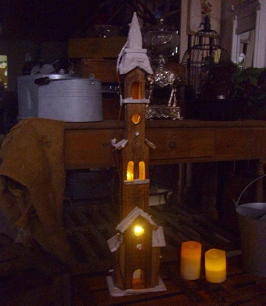 winter weihnachtsdeko kirche 90cm winterdorf beleuchtet weihnachtsdorf holz neu ebay. Black Bedroom Furniture Sets. Home Design Ideas