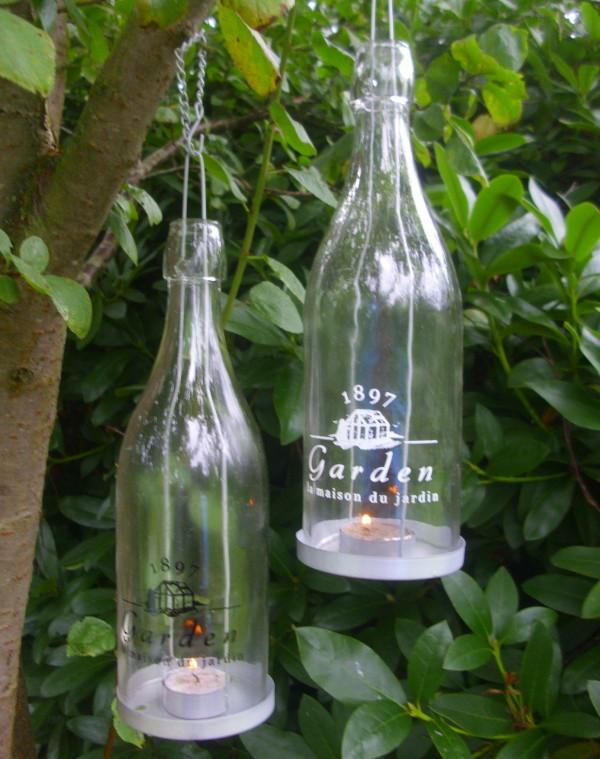 2er set windlicht flaschen garden zum h ngen glas. Black Bedroom Furniture Sets. Home Design Ideas