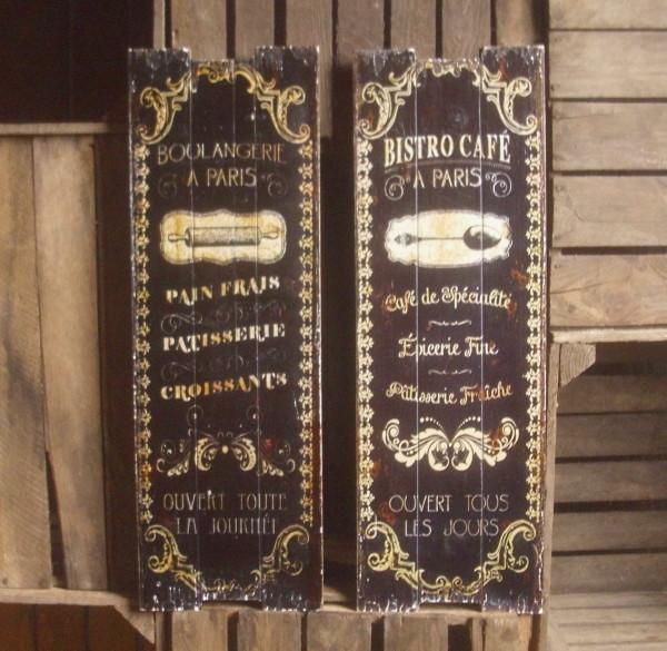 2er set holz wanddeko wandboard cafe paris vintage. Black Bedroom Furniture Sets. Home Design Ideas