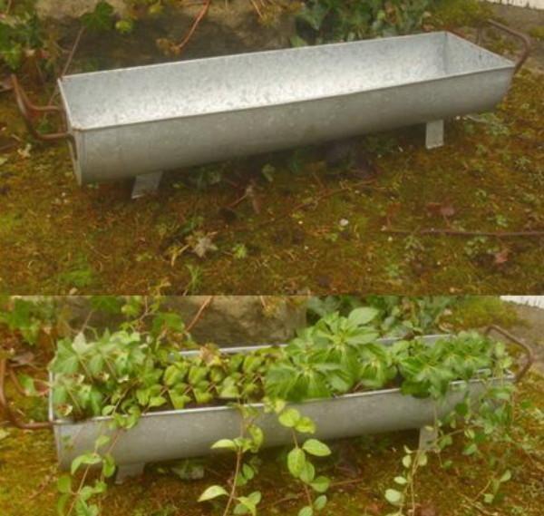 pflanzschale dachrinne zuber gartendeko garten metall antik landhausstil neu ebay. Black Bedroom Furniture Sets. Home Design Ideas