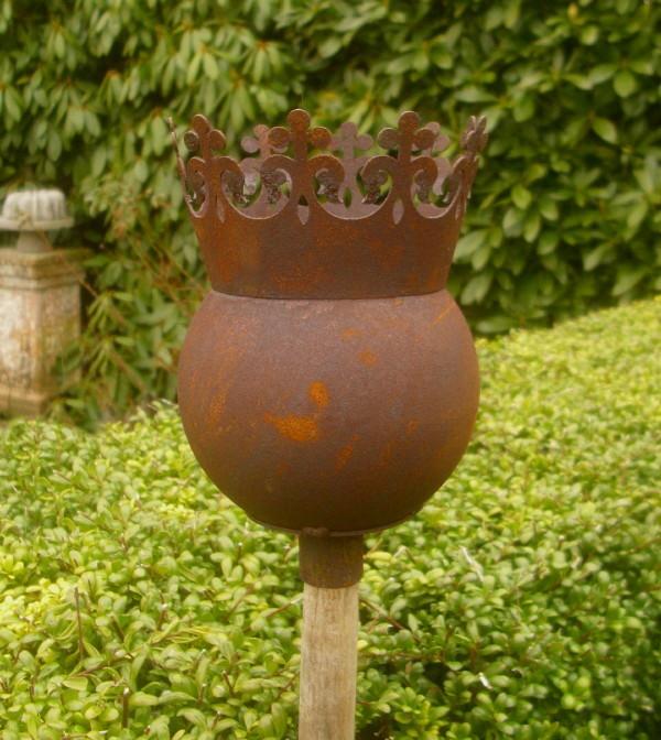 Dekokugel krone f r stab rankhilfe kugel rost patina for Gartenaccessoires rost