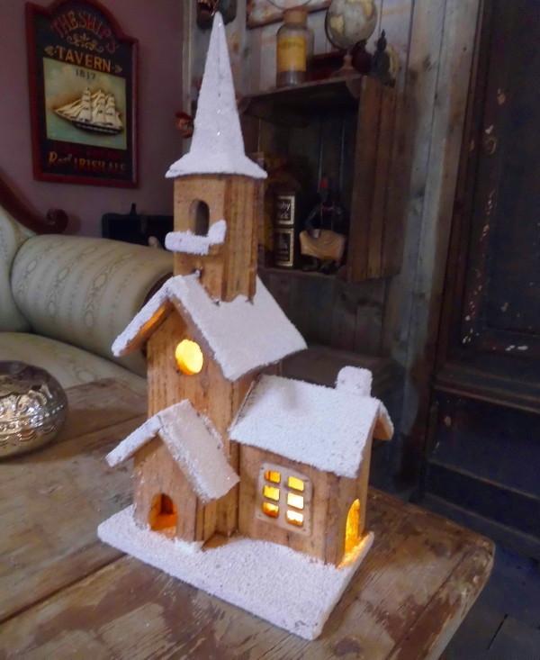 winter weihnachtsdeko kirche 42cm winterdorf beleuchtet weihnachtsdorf holz neu ebay. Black Bedroom Furniture Sets. Home Design Ideas