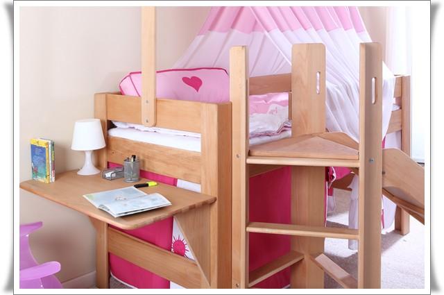 leo hochbett mit rutsche matratze massiv buche. Black Bedroom Furniture Sets. Home Design Ideas