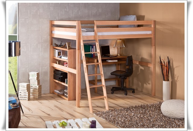 hochbett campus massiv buche natur 140 x 200 ebay. Black Bedroom Furniture Sets. Home Design Ideas