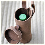 leather bottle holder brown, 0,5L