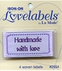 "Woven Iron-on Lovelabel ""Handmade with Love"" (lilac)"