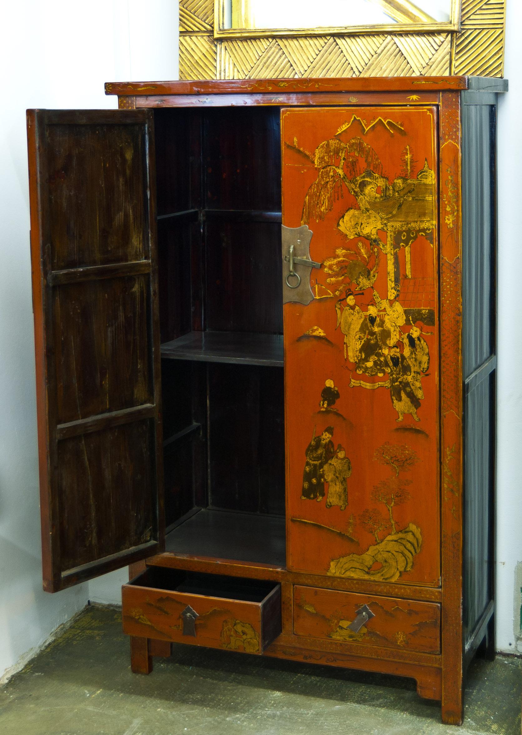 chinesischer schrank rot 12 5 2 1 schwarzer elefant. Black Bedroom Furniture Sets. Home Design Ideas