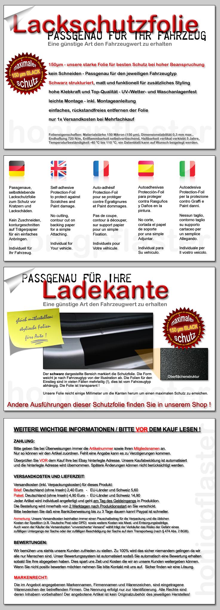 lackschutzfolie ladekantenschutz vw polo 9n 9n3 schwarz ebay. Black Bedroom Furniture Sets. Home Design Ideas