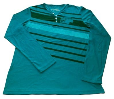 Playera Henley Manga Larga STYLUS midnight green
