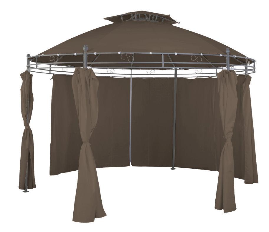 gartenpavillon sonnenpavillon pavillon rund 350cm taupebraun inkl seitenteile. Black Bedroom Furniture Sets. Home Design Ideas