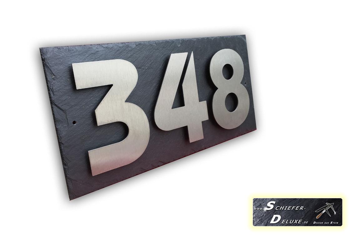Hausnummer in V2a Edelstahl auf Naturschiefer in 3D Optik - Schiefer ...