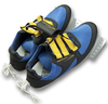 rowing shoes, Empacher, mounted on anodised aluminium plate