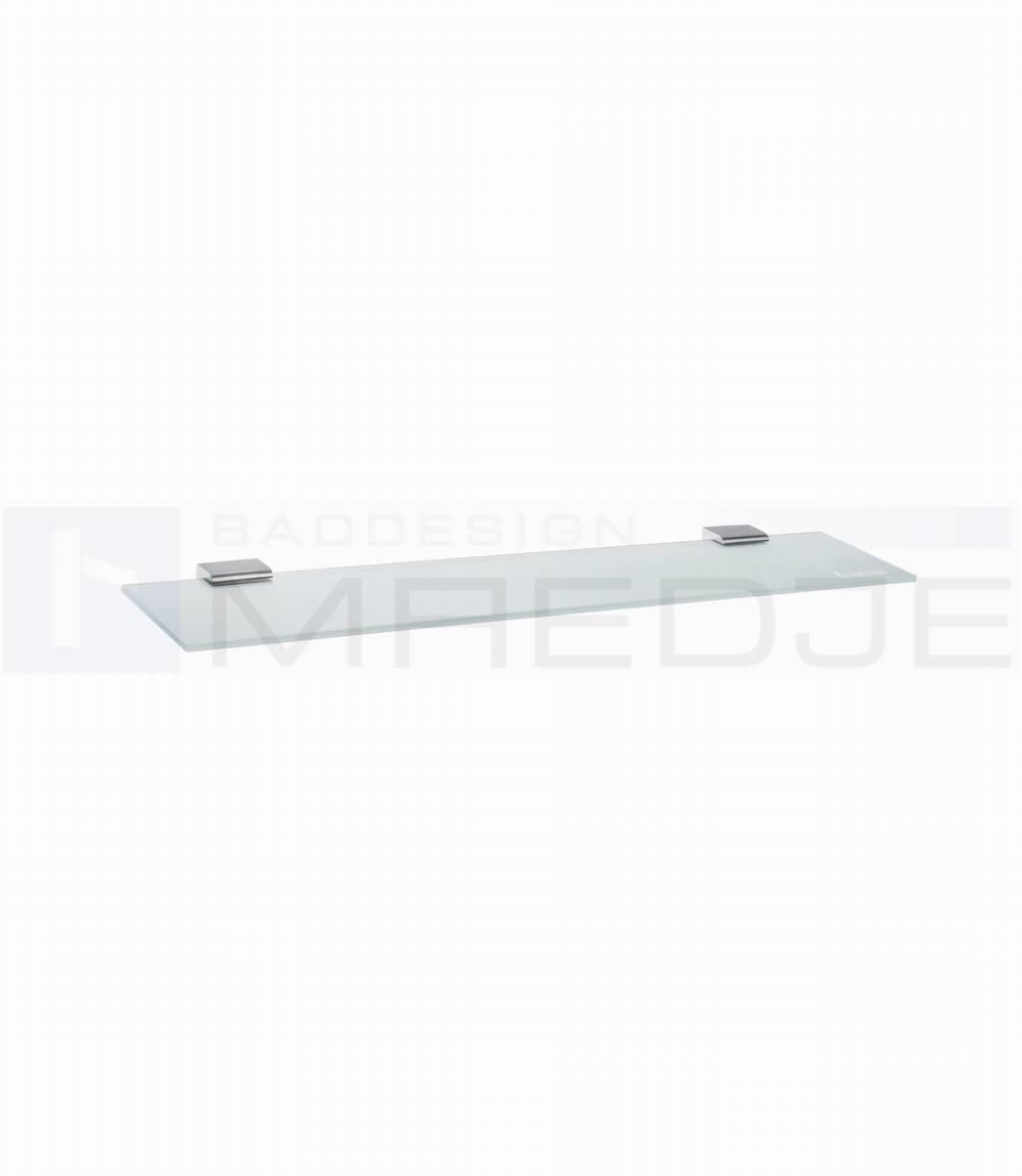 design glasregal spa mit edelstahl halter 6mm satiniertes glas 60cm matt geb rstet. Black Bedroom Furniture Sets. Home Design Ideas