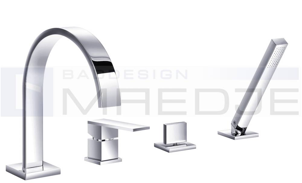 deusenfeld design 4 loch wannenrand armatur quadro 08 handbrause ebay. Black Bedroom Furniture Sets. Home Design Ideas