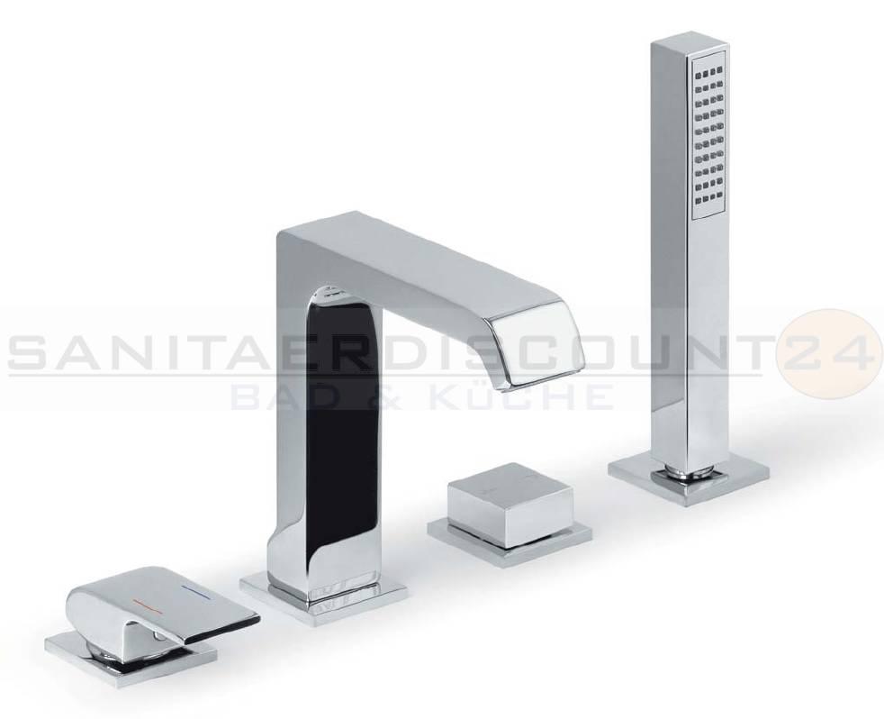 design 4 loch wannenrand armatur quadro m handbrause ebay. Black Bedroom Furniture Sets. Home Design Ideas
