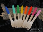 8 Happy colorful rainbow wooden forks