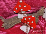 Two decorative mushrooms