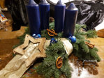 Advent wreath freshly tied blue, natural