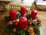 Advent wreath freshly bound red, natural