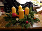 Advent wreath freshly bound gold, pink