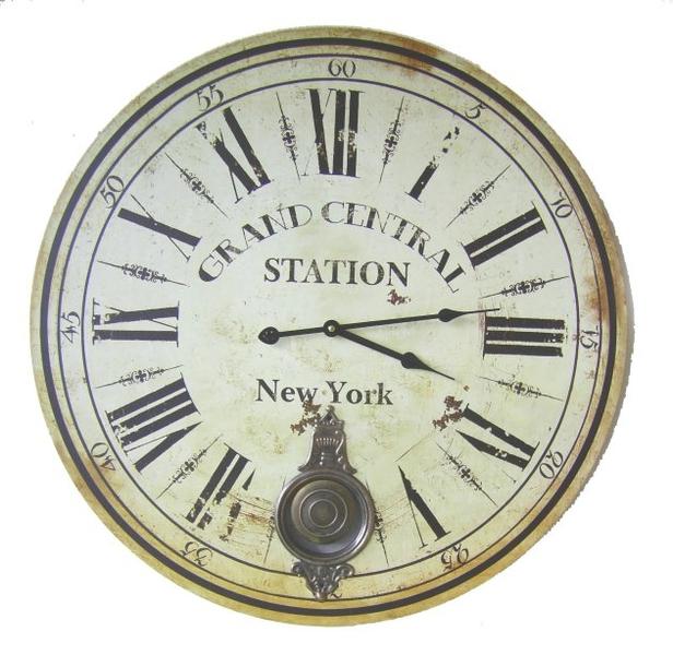 PENDEL WANDUHR NEW YORK BAHNHOFSUHR ANTIK NOSTALGIE STIL