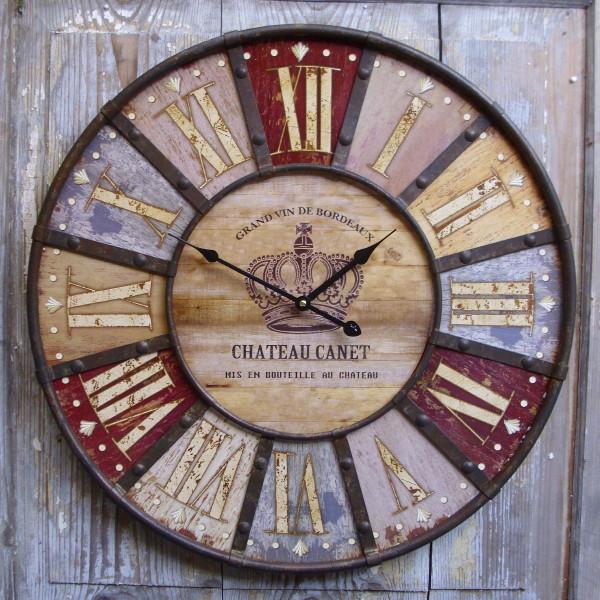 Grosse Wanduhr Chateau Canet Antik Nostalgie Landhausstil Uhr 60cm
