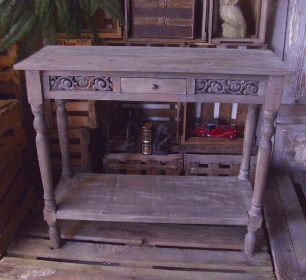 konsolentisch mit schublade 1m breit holz antik landhausstil beistelltisch tisch ebay. Black Bedroom Furniture Sets. Home Design Ideas
