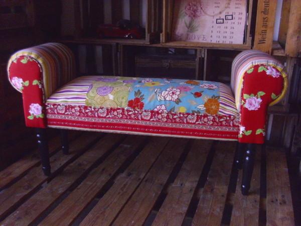 sitzbank patchwork design polsterbank 1m breit stoff bunt vintage retro bank neu ebay. Black Bedroom Furniture Sets. Home Design Ideas