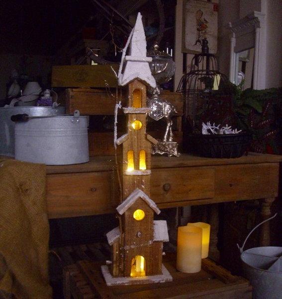 winter weihnachtsdeko kirche 72cm winterdorf beleuchtet weihnachtsdorf holz neu ebay. Black Bedroom Furniture Sets. Home Design Ideas