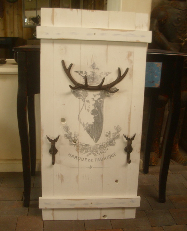 shabby chic wandgarderobe hirsch gusseisen geweih garderobe landhausstil neu ebay. Black Bedroom Furniture Sets. Home Design Ideas
