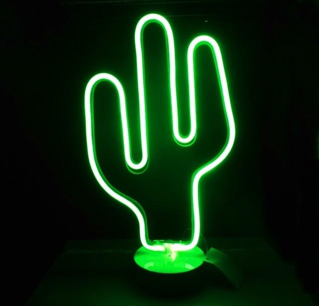 Pub Bar Bistro Deco Lumiere Cactus Lampe Fluo Style Led 37cm Haut