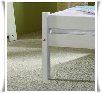 einzelbett jugendbett 90x200 cm kiefer weiss neu. Black Bedroom Furniture Sets. Home Design Ideas