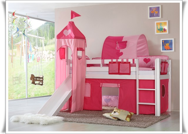 spielbett hochbett kinderbett mit rutsche 4 tlg vorhang turm wei princess ebay. Black Bedroom Furniture Sets. Home Design Ideas