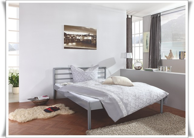 metallbett futtonbett doppelbett jugendbett lido silber 140x200 cm neu ebay. Black Bedroom Furniture Sets. Home Design Ideas