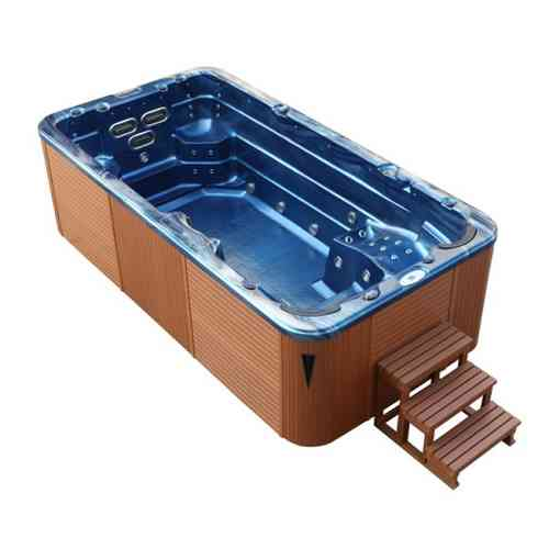 EO-SPA Aussenwhirlpool SWIM SPA Aquacise 4.5 Summer Saphire/450x230/braun