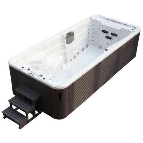 EO-SPA Aussenwhirlpool SWIM SPA Aquacise 5.2 Stearling Silver/520x230/grau